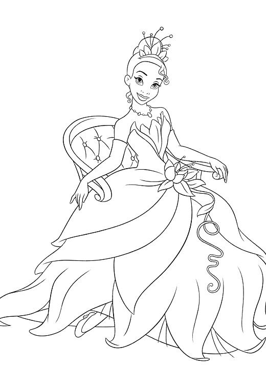 520x755 Sitting Princess Tiana Coloring Pages Colouring