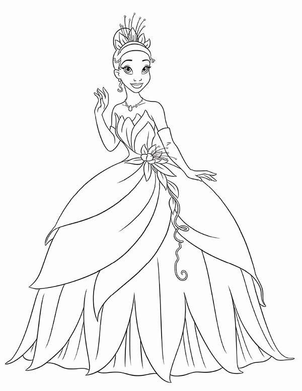 600x778 Disney Princess Tiana Coloring Pages Stunning Princess Tiana