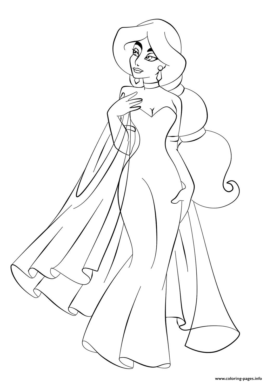 1024x1469 Jasmine In Wedding Dress Disney Princess Coloring Pages
