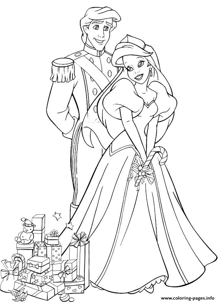 740x1023 Ariel And Eric With Wedding Gifts Disney Princess Coloring