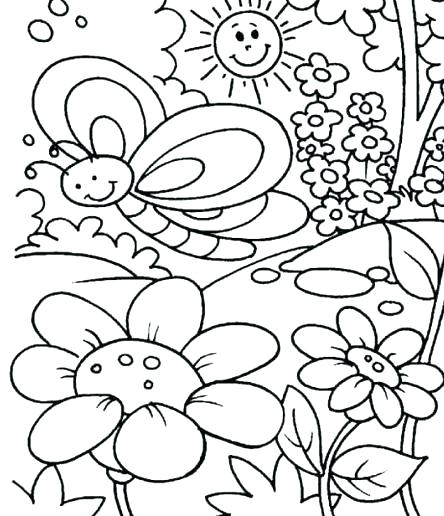 444x516 Spring Coloring Sheets For Kids Coloring Pages For Spring Spring