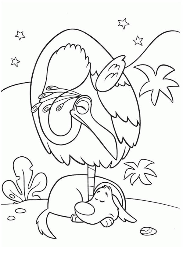 600x840 Kevin The Bird And Dug The Dog In Disney Up Coloring Page