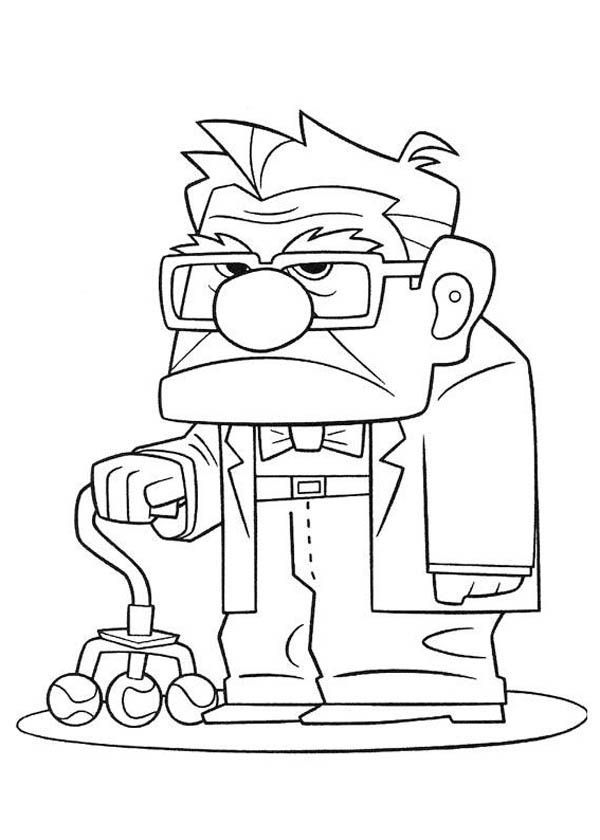 600x840 Carl Fredricksen Annoyed Face In Disney Up Coloring Page