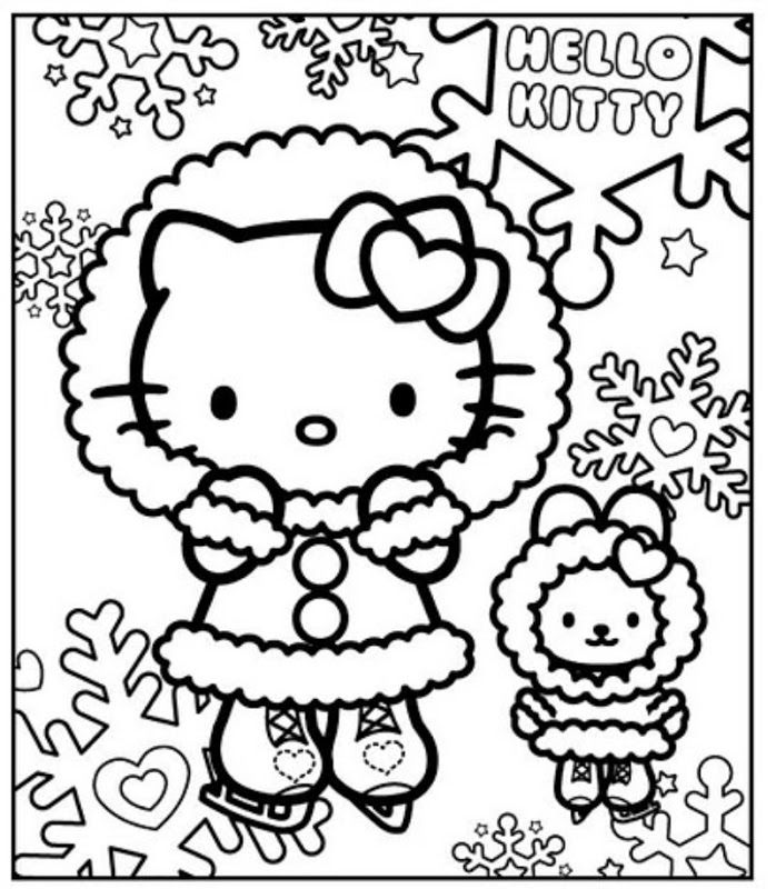 698x800 Disney Winter Coloring Pages Hello Kitty