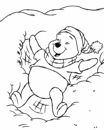 421x525 Disney Winter Coloring Pages Pooh In The Snow Coloring Page
