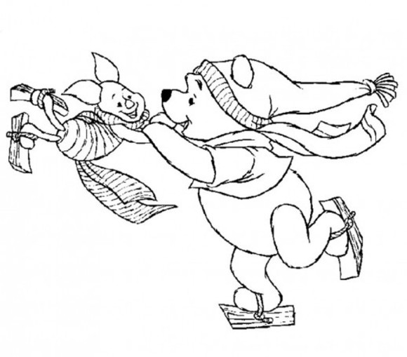 580x509 Winnie And Piglet Playing Ice Skating Winter Coloring Pages