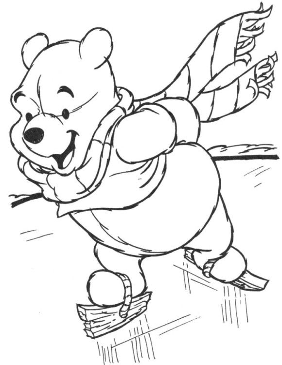 580x750 Winnie The Pooh Preschool Coloring Pages Winter