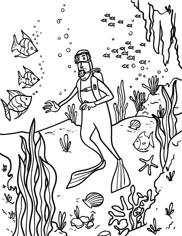 Diver Coloring Page At GetDrawings Free Download