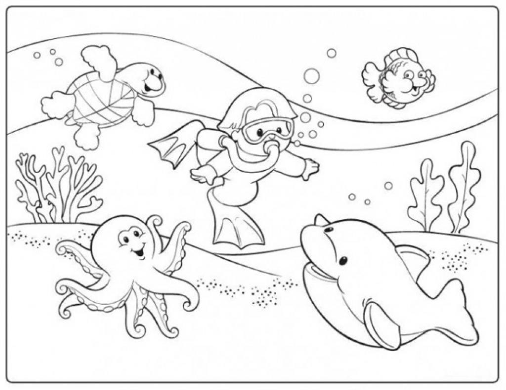 1024x791 Scuba Diver Coloring Page