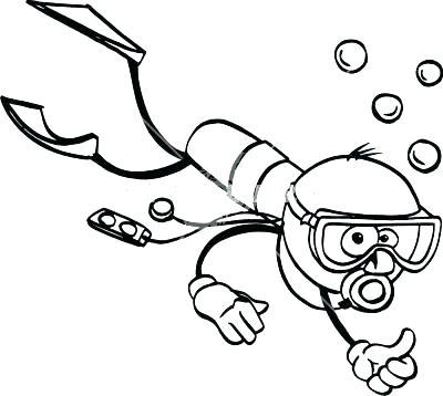 400x358 Scuba Diver Colouring Page Coloring Stick Cartoon Misc Sport