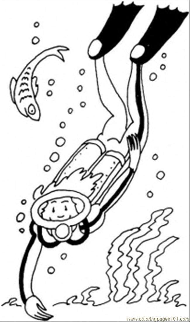 650x1099 Diver Coloring Page