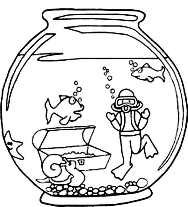 600x662 Fish And Diver In Fish Bowl Coloring Page