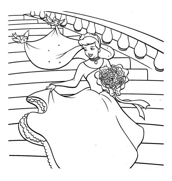 600x630 Cinderella So Happy In Her Wedding Dress In Cinderella Coloring