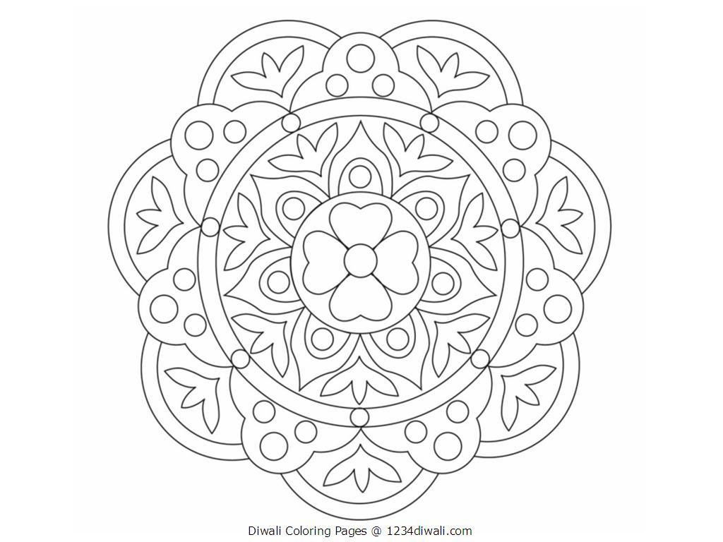 1024x768 Diwali Rangoli Coloring Pages Printables Bebo Pandco Within