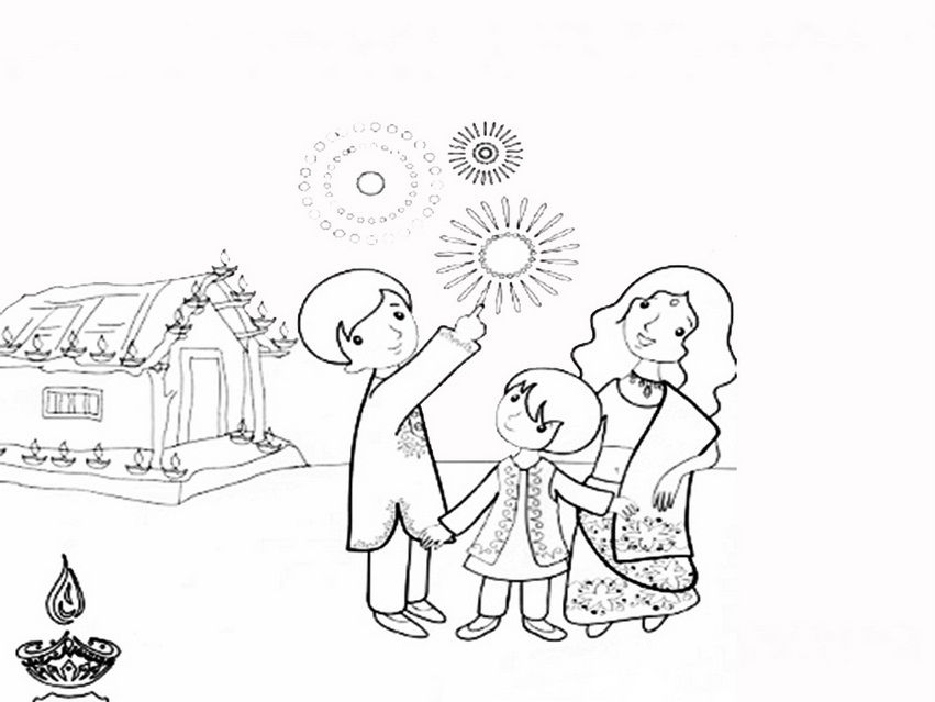 851x639 Biggest Collection Of Best Diwali Drawing For Kids Beautiful
