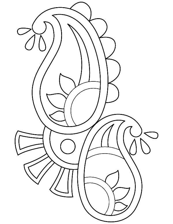 600x776 Paisley Design Rangoli Coloring Page Paisley