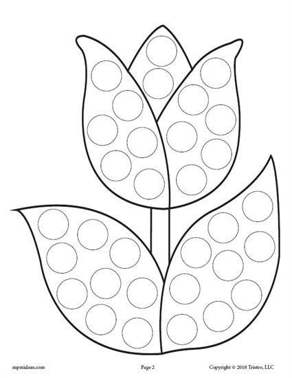 425x550 Spring Do A Dot Printables Tulips Flowers, Motor Skills