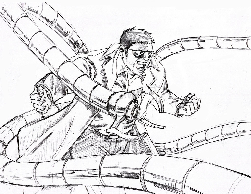 1024x791 Doctor Octopus Coloring Pages Superhero Spiderman Spiderman
