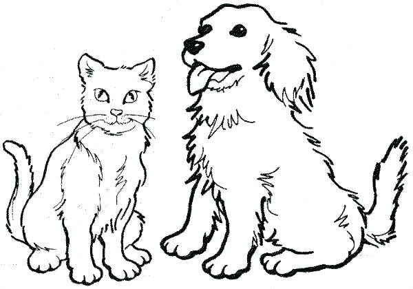 600x420 Coloring Pages Dogs And Cats Dog And Cat Coloring Pages Printable