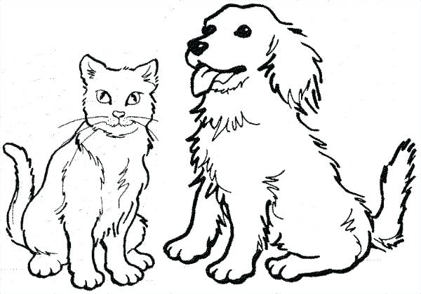 600x420 Coloring Pages Dogs And Cats Coloring Pages Dogs Cat And Dog
