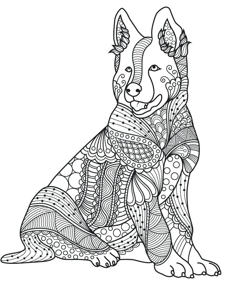 736x918 Dog Coloring Pages For Adults Dog Coloring Book For Adults Mandala