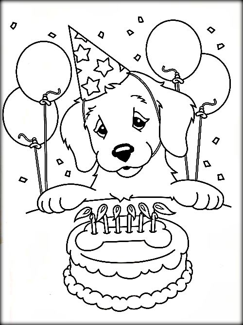 500x670 Birthday Dog Coloring Pages Coloring Pages Book On Dog For Adults