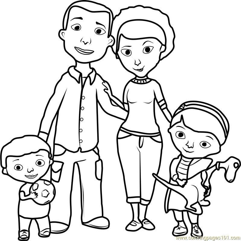 799x800 Doc Mcstuffins Family Coloring Page Free Doc Mcstuffins, Dog