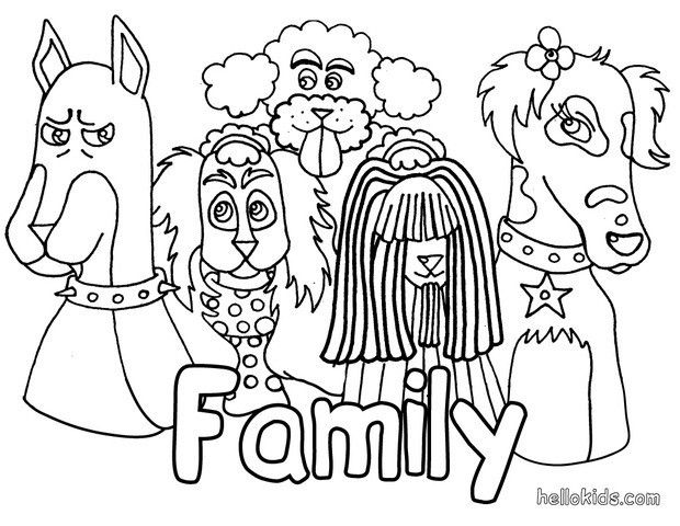 620x480 Dog's Family Coloring Page Beautiful Animals Coloring Sheets