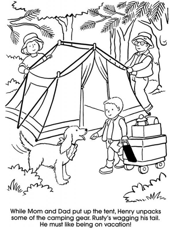 613x800 Camping Family With Dog Coloring Pages Holiday Coloring Pages