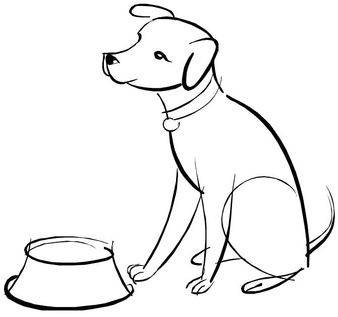 670x628 Dog Waiting For Food Coloring Page Dog
