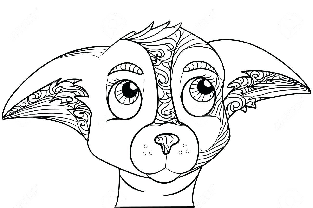 1300x866 Chihuahua Dog Outline Coloring Pages Terrier Printable Many