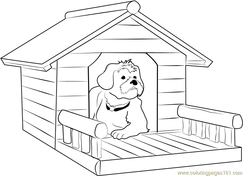 800x580 Dog House With Porch Coloring Page