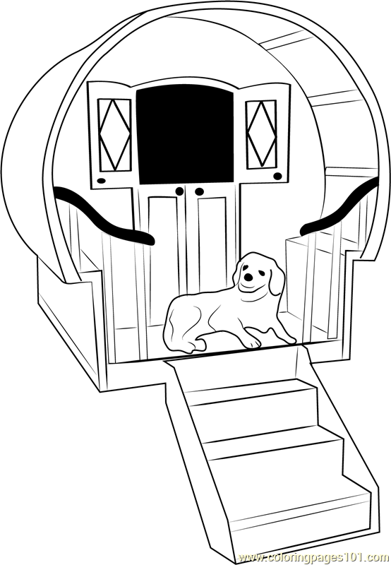 554x800 Dog House With Stairs Coloring Page