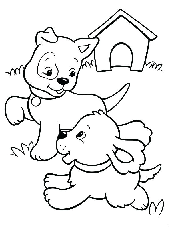 595x842 House Coloring Sheet Dog House Coloring Page Two Puppies Playing