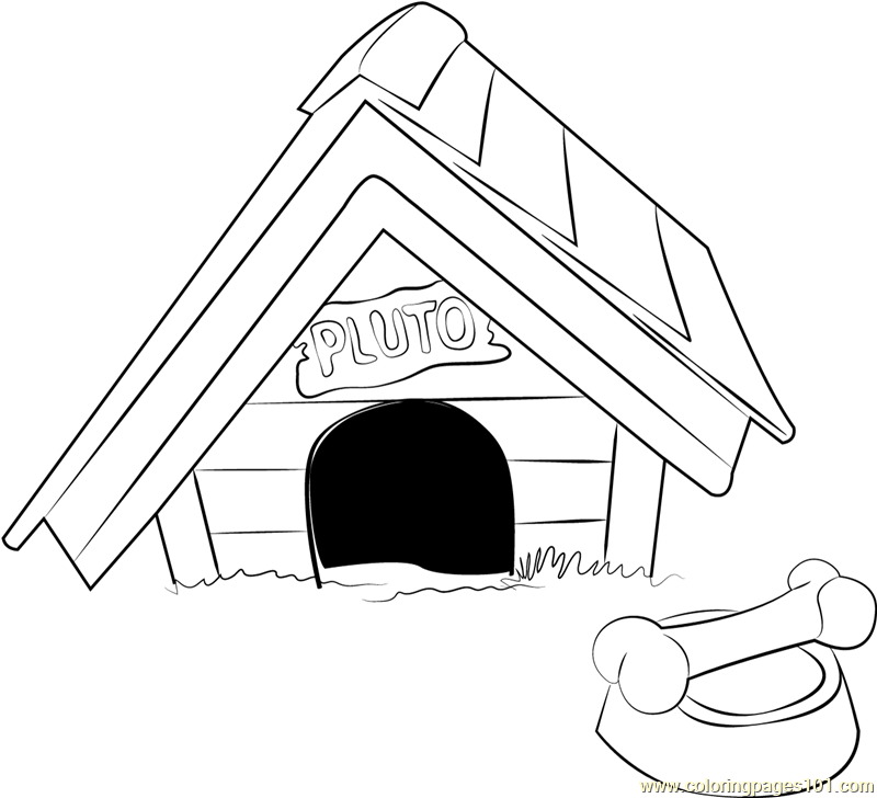 800x728 Pluto Dog House Coloring Page