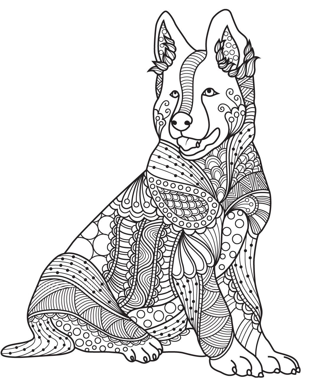 1053x1314 Dog Colorish Coloring Book For Adults Mandala Relax