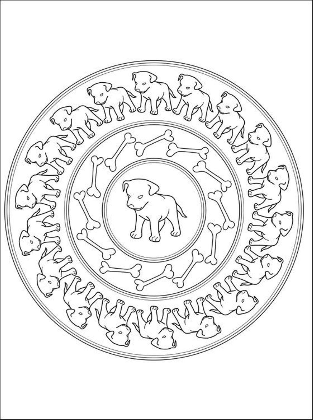 1058x1418 Puppies Mandala Coloring Pages Mandala Color Pages