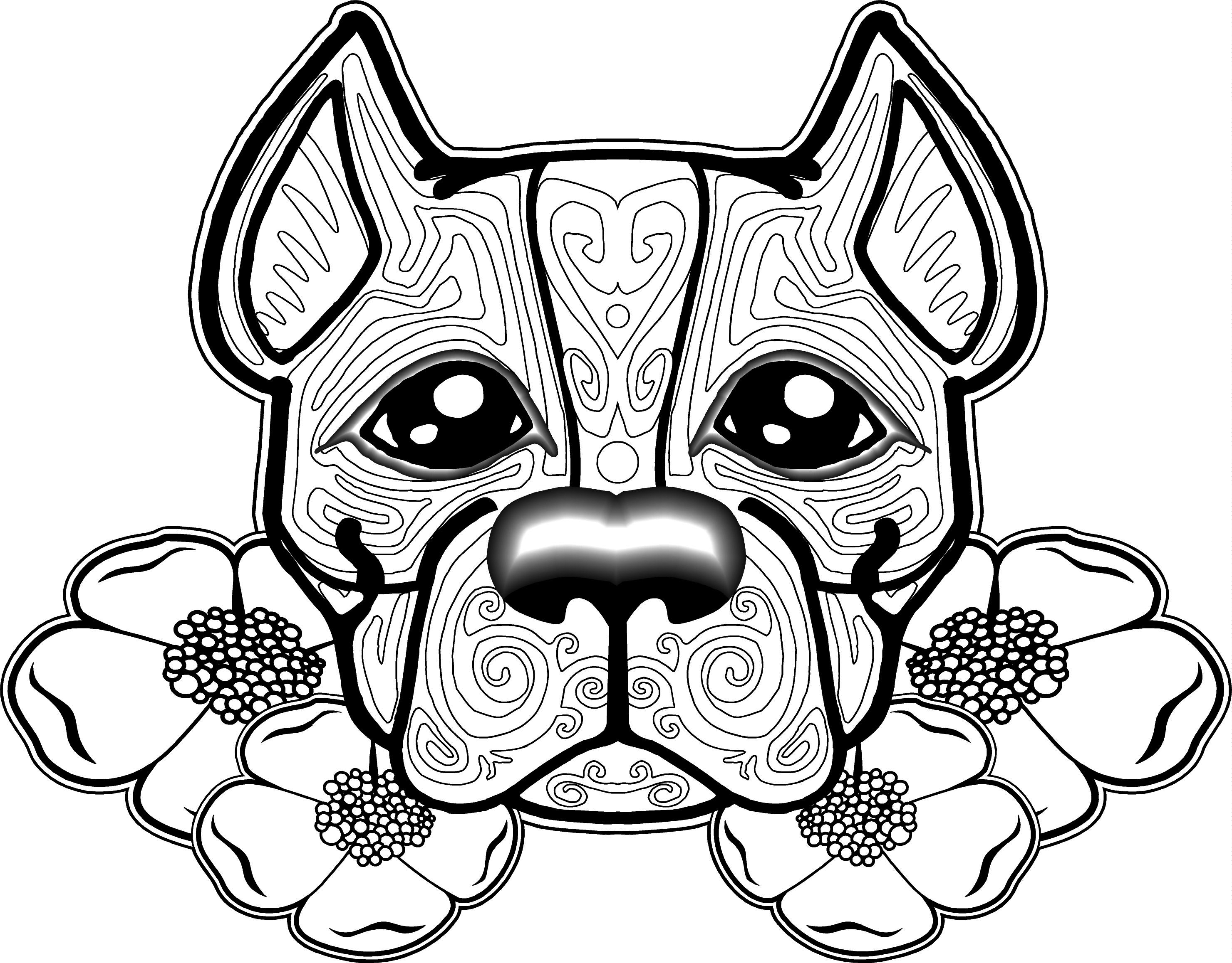 2961x2317 Pitbull Coloring Pages Free Dog For Adults Free Printable Coloring