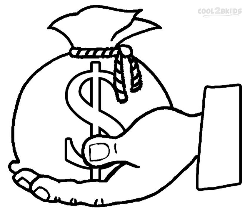 850x720 Printable Money Coloring Pages For Kids