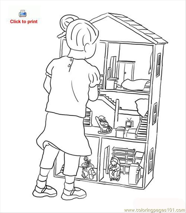 650x741 Doll House Coloring Page Coloring Page