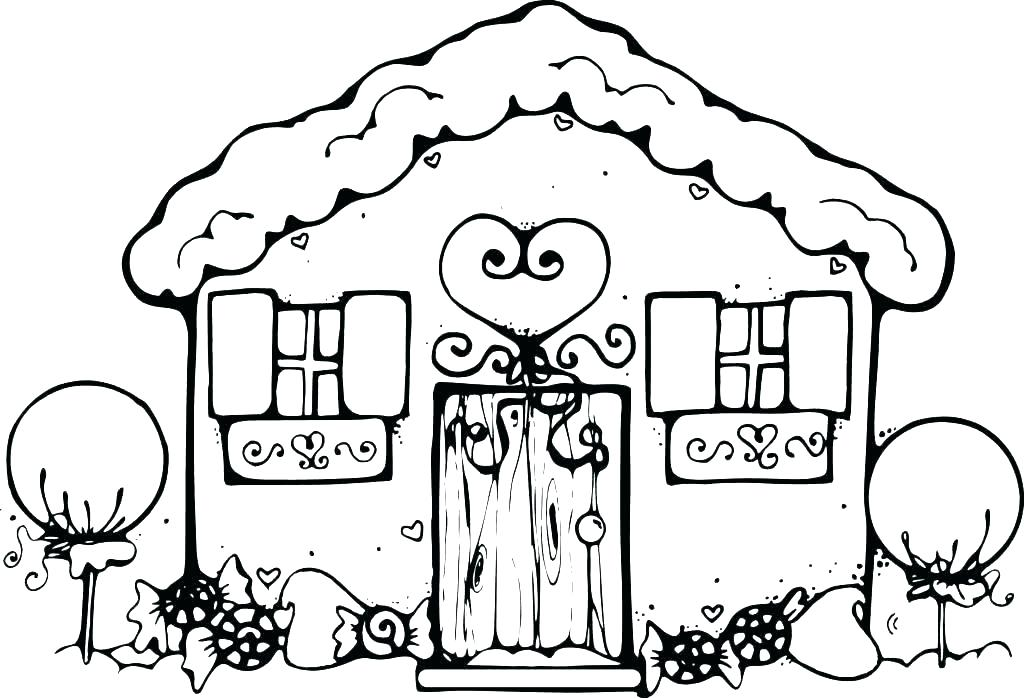 1024x698 House Coloring Pages Printable Gingerbread House Coloring Page