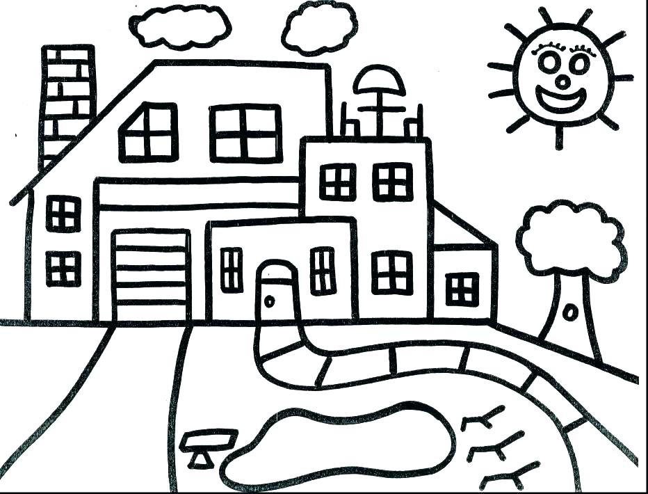 932x710 House Coloring Pages Printable House Coloring Pages House Coloring