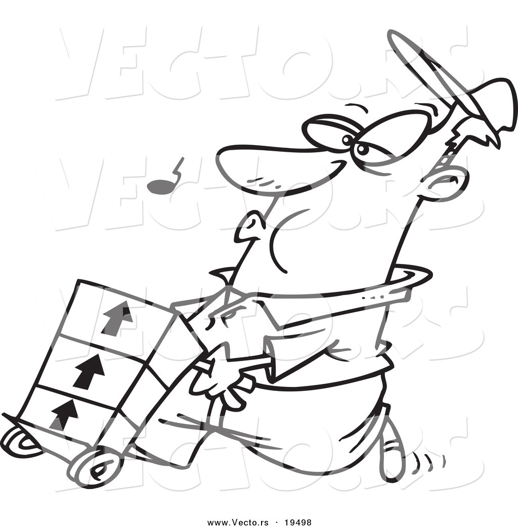 1024x1044 Vector Of A Cartoon Man Whistling And Pushing A Dolly