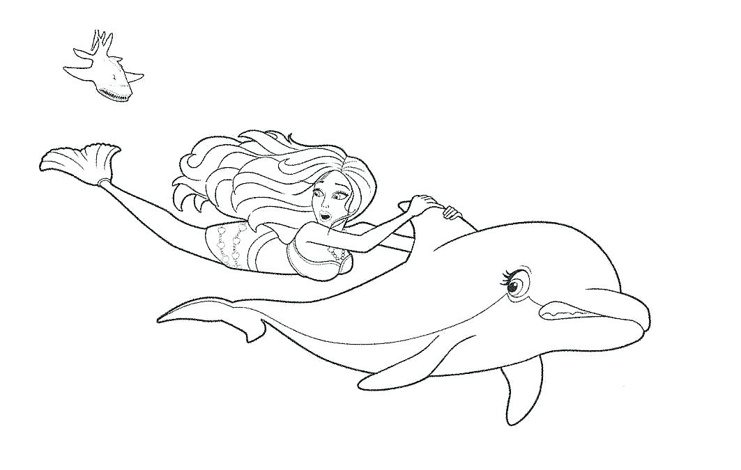 1063x675 Dolphin Printable Colouring Pages Barbie Mermaid Coloring Page