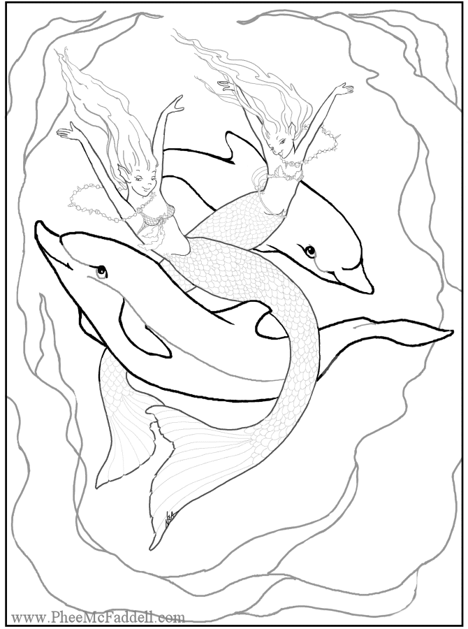 670x900 Young Mermaids With Dolphins Coloring Page