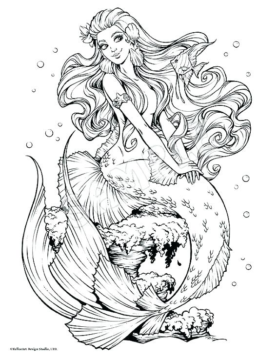 570x738 Coloring Page Mermaid Mermaid Coloring Page Fishy Friends Adult