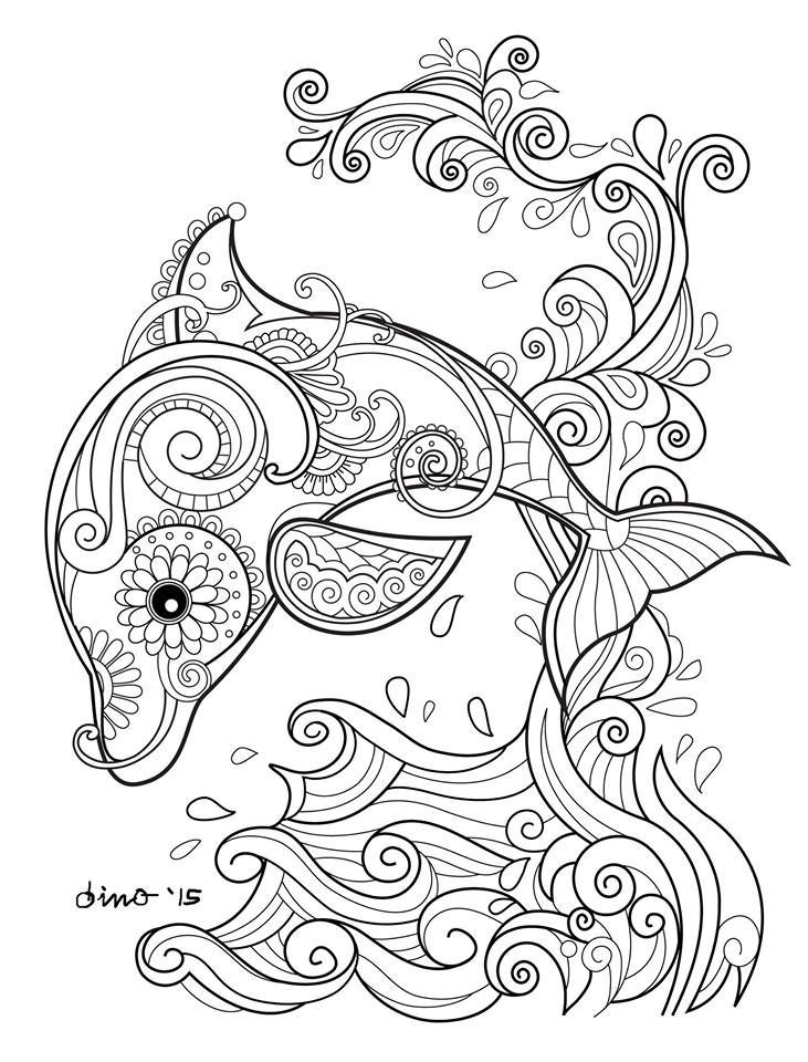 731x960 Dolphin Coloring Pages For Adults Printable