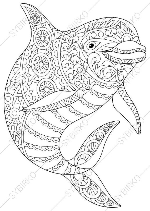 570x798 Successful Dolphin Coloring Pages For Adults Il