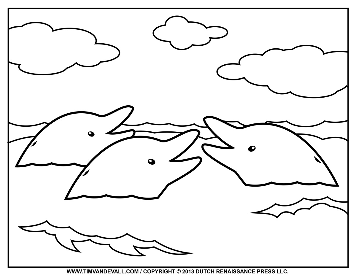 1200x927 Free Dolphin Clipart, Printable Coloring Pages, Outline Silhouette