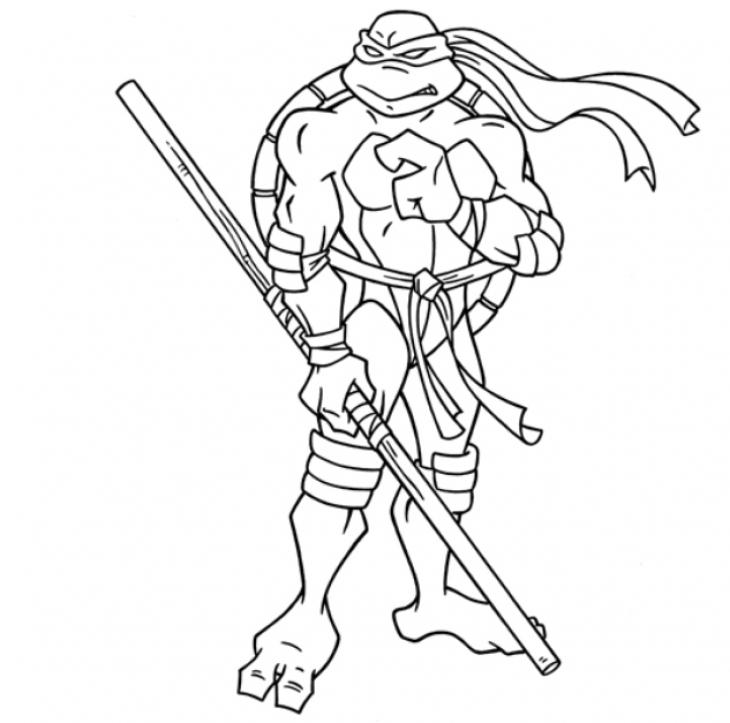 730x723 Donatello In Online Teenage Mutant Ninja Turtles Coloring Page